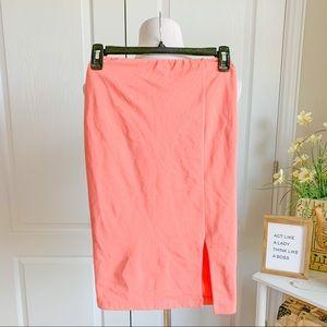 Lulu's High Waist Salmon Pink Pencil Skirt